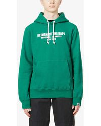 A Bathing Ape X Undefeated Logo-print Cotton-jersey Hoody - Green