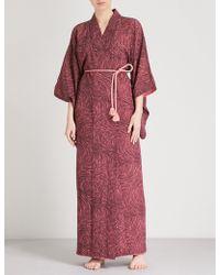 Kisshōten - Pink Fields-print Silk Kimono Robe - Lyst