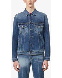 Givenchy - Brand-print Faded Stretch-denim Jacket - Lyst