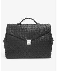 Bottega Veneta Basketweave Leather Briefcase - Black