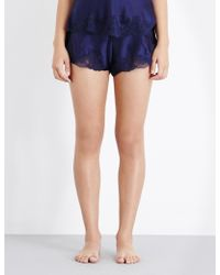Nk Imode Women's Even Blue Floral Morgan Stretch-lace And Silk-satin Pyjama Shorts