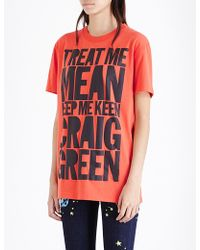 House of Holland Craig Green Slogan Cotton-jersey T-shirt - Red