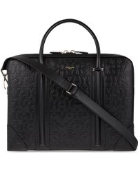 Givenchy Logo Embossed Leather Briefcase - Black