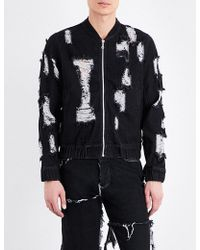 Christopher Shannon Distressed Denim Bomber Jacket - Black