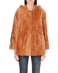 DROMe - Hooded Shearling And Suede Poncho - Lyst