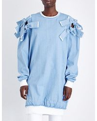 Fyodor Golan - Bow-detailed Denim Sweatshirt - Lyst