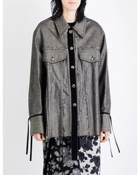 Song For The Mute - Graphic-print Distressed Denim Jacket - Lyst
