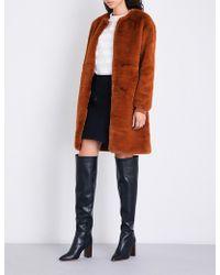 Maje Gemila Collarless Faux-fur Coat - Multicolour