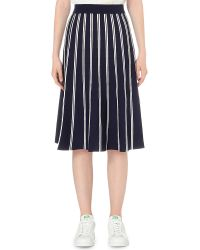 Izzue Knitted A-line Skirt - Blue