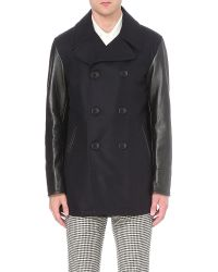Bally Double-breasted Virgin-wool And Leather Peacoat - Multicolour