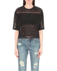 Mo&co. Floral-embroidered Cotton Top - Black