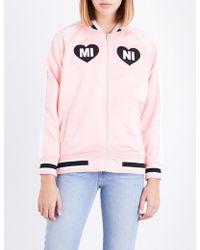 Mini Cream - Embroidered-hearts Bomber Jacket - Lyst