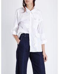 Miharayasuhiro - Draped-back Cotton Shirt - Lyst
