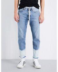 Off-White c/o Virgil Abloh Sprayed-hem Straight-fit Cropped Jeans - Blue