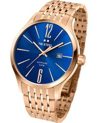 TW Steel Tw1309 Slim Line Rose Gold-plated Stainless Steel Watch - Blue