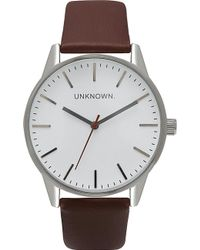 Unknown | Un14tc01 The Classic Stainless Steel And Leather Watch | Lyst