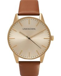 Unknown - Un14tc04 The Classic Stainless Steel And Leather Watch - Lyst