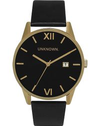 Unknown | Un15da07 The Dandy Gold-toned Stainless Steel And Leather Watch | Lyst