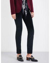 Rockins Ladies Concealed Zip Classic Skinny High-rise Velvet Jeans - Black