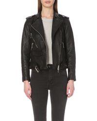 AllSaints - Rawley Leather Biker Jacket - Lyst