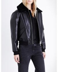 AllSaints - Kinney Leather Bomber Jacket - Lyst