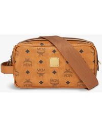 MCM Viestos-print Faux-leather Wash Bag - Brown