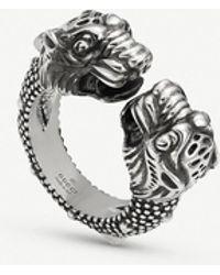 Gucci Garden Tiger Sterling Silver Ring - Metallic
