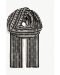 Paul Smith Polka Dot Striped Scarf - Gray