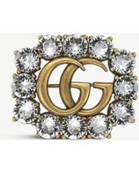 Gucci Double G Gold And Crystals Brooch - Metallic