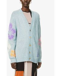 McQ Genesis Ii Embroidered Oversized Knitted Cardigan - Blue