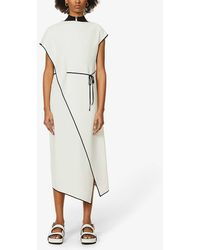 Theory Contrast-trim Drape-panel Crepe Midi Dress - Multicolor