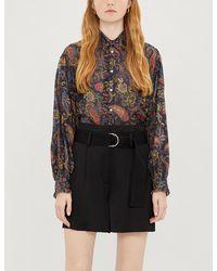 Maje Paisley-print Ruffled Cotton Shirt - Blue