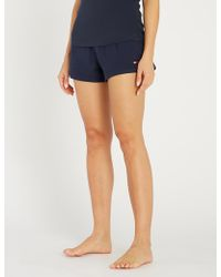 Tommy Hilfiger Logo-embroidered Stretch-cotton Pyjama Shorts - Blue