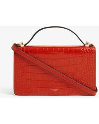 Givenchy Gv3 Crocodile-embossed Leather Cross-body Bag - Red