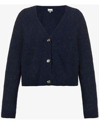 Ganni V-neck Wool-blend Cardigan - Blue