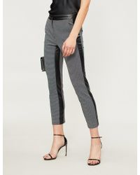 Pinko Trancia Houndstooth Tapered Cropped Woven Pants - Black