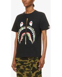 A Bathing Ape Camo Shark Graphic-print Cotton-jersey T-shirt - Black