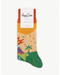 Happy Socks Tropical Pattern Cotton-blend Socks - Yellow