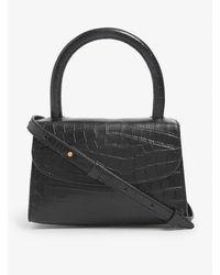 BY FAR Mini Croc-embossed Deadstock-leather Cross-body Bag - Black