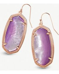 Kendra Scott - Elle 14ct Rose Gold-plated And Lilac Mother-of-pearl Earrings - Lyst