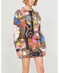 Jaded London - Scarf-print Denim Mini Skirt - Lyst