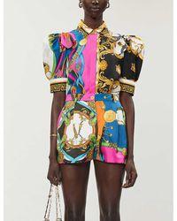 Versace Brand-print Puffed-sleeve Silk-twill Top - Multicolour
