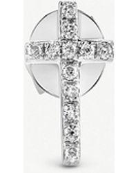 The Alkemistry - Sydney Evan Cross 14ct White-gold And Diamond Earring - Lyst