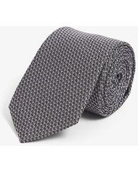 HUGO Jacquard Silk Tie - Metallic