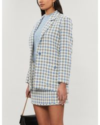 Sandro Caliana One - Button Houndstooth Blazer - Blue