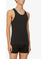 Calvin Klein Mens Black Ck One Crew-neck Cotton Vests Pack Of Two M