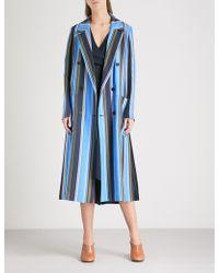 Diane von Furstenberg - Ampère-print Double-breasted Silk-twill Coat - Lyst
