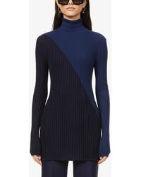 Gabriela Hearst Nazim Turtleneck Recycled-cashmere And Recycled-silk Blend Jumper - Blue