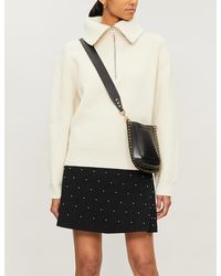 Sandro Pearl-embellished Stretch-knit Mini Skirt - Black