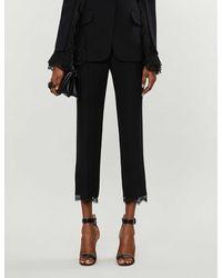 Alexander McQueen Lace-trimmed Straight-leg High-rise Crepe Pants - Black